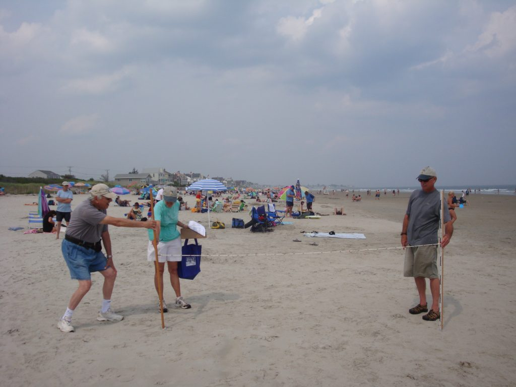 photo of beach profiling volunteers