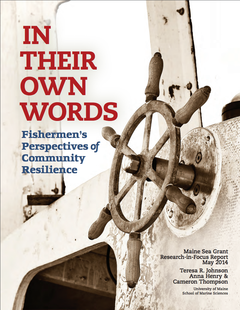 Cover of In Their Own Words report, shows a ship steering wheel.