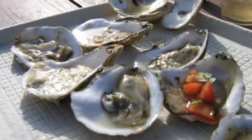 Shucked oysters on a cardboard tray