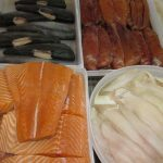 four different fish in refrigerator case at Jess's market