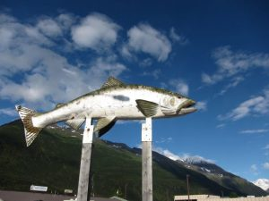 elevated fish sculpture in Valdez