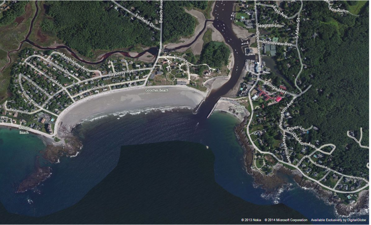 An aerial view of Gooch's Beach in Kennebunk, Maine