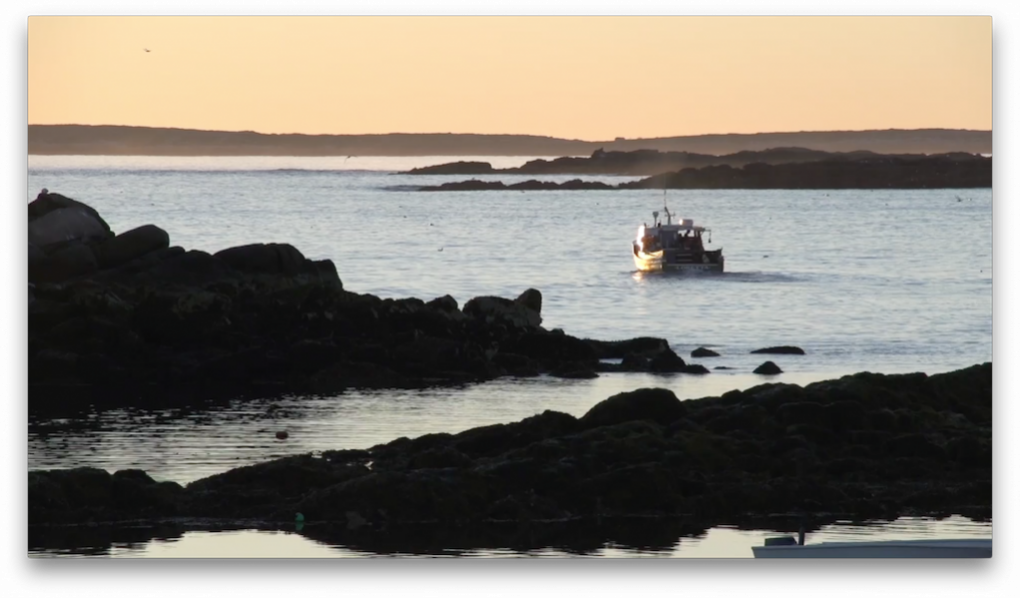 Photo of a lobster boat on the Maine Coast