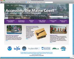 A screenshot of the Accessing the Maine Coast website