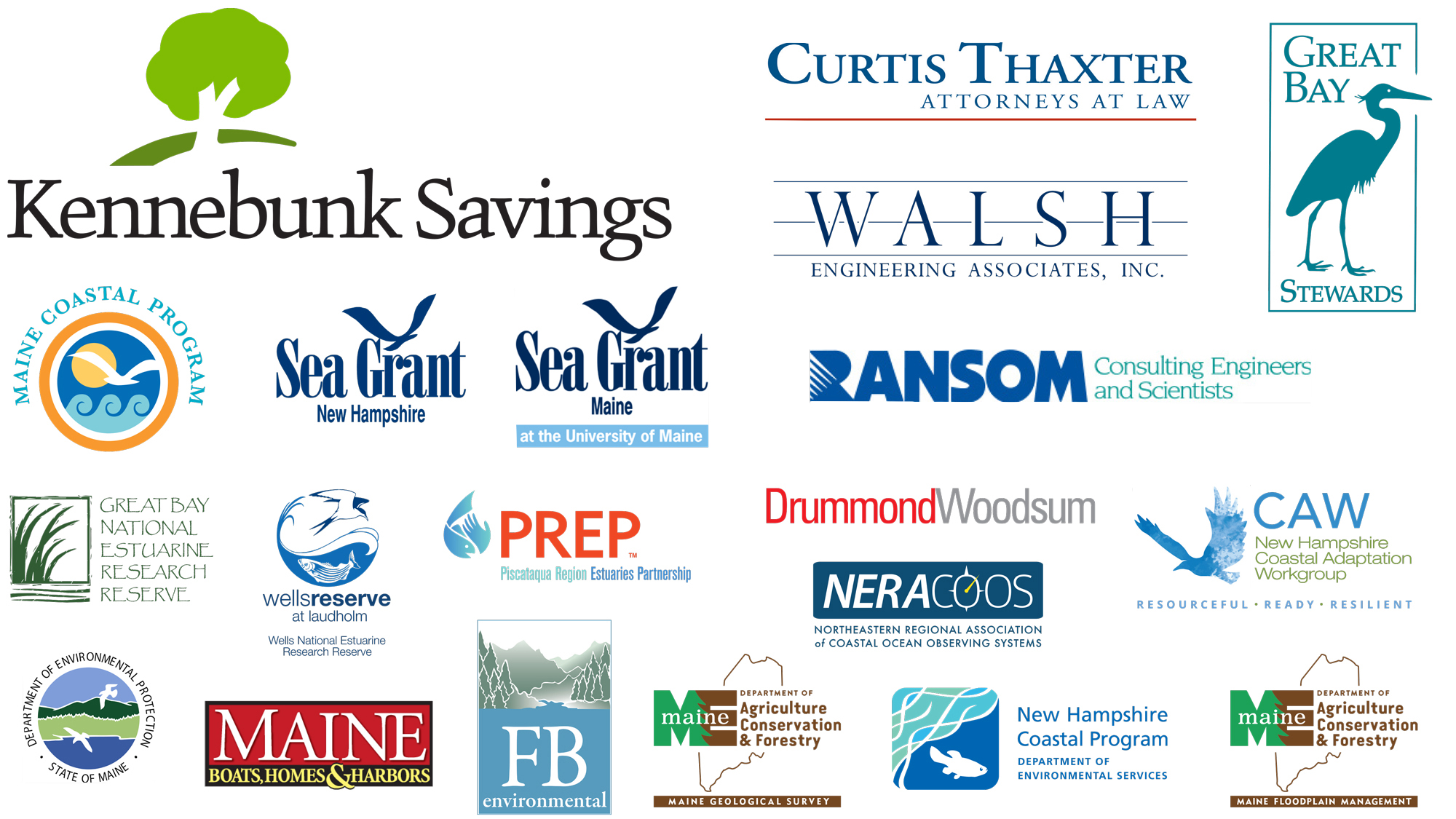 collage of the beaches conference sponsors, text list appears below image.