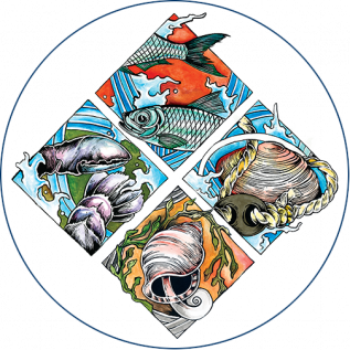 diamond shaped logo for the Downeast Fisheries trail depicting different seafoods