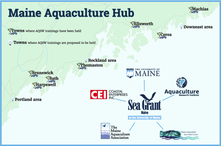 A map of the locations of the hub including towns involved in Aquaculture in Shared Waters trainings