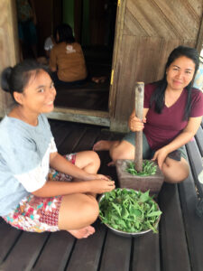 Two smiling women process vegetation with a mortar and pestle