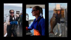 triptych photo collage of the three women fishermen
