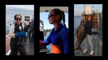 triptych photo collage of the three women fishermen