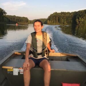 clara benadon in a boat