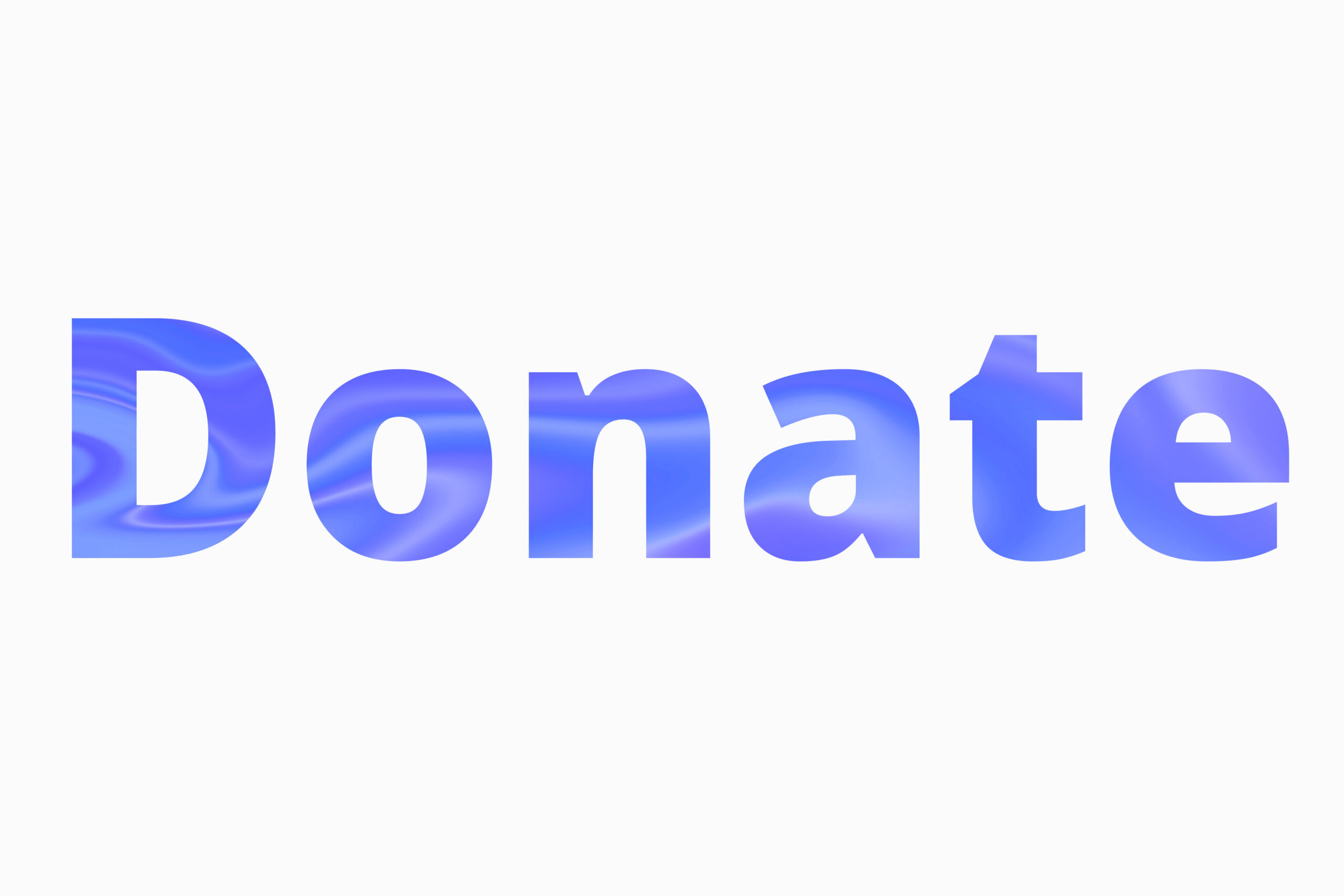 blue text reading Donate on a white background