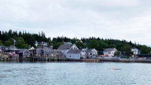 view of a town on shore taken from the water, with docks and buildings under an overcast sky