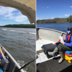 side by side photos of a masked person in a boat using binoculars to look for animals in the estuary