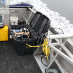 A collection of sonar equipment on a boat