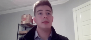 Screenshot of Patrick Breeding from the Buoy Maine pitch competition