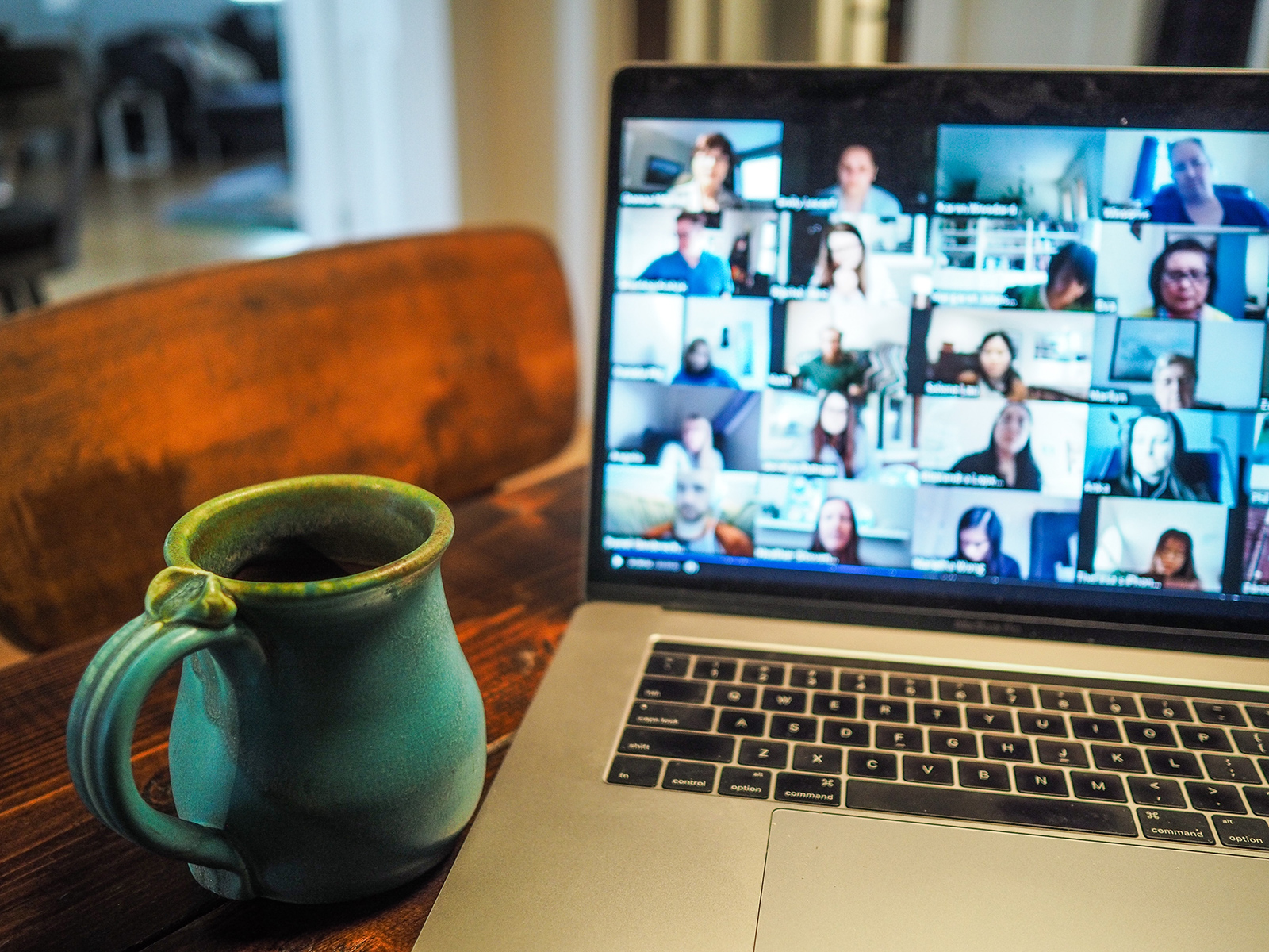 stock image of a computer running a virtual meeting
