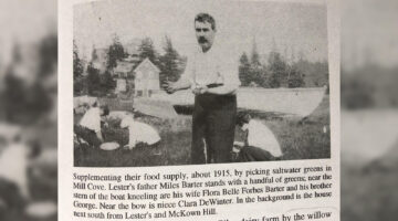 Miles Barter holding saltwater greens in a newspaper photo