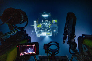 View of a manned submersible taken underwater.